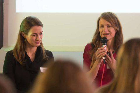 Teresa from Konica Minolta Europe and Lenka from Microsoft at the panel discussion